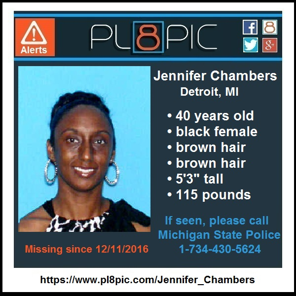 Missing from Detroit, Michigan 40 year old Jennifer Chambers | PL8PIC